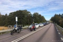 Szwecja motocyklem - kolejka do mostu