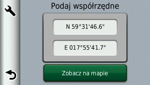 Ekran nawigacji GPS Garmin Zumo na którym można podać współrzędne geograficzne do wyszukania.